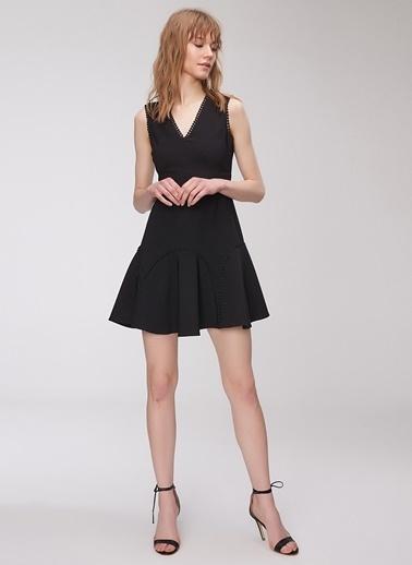 People By Fabrika Şerit Detaylı Mini Elbise Siyah